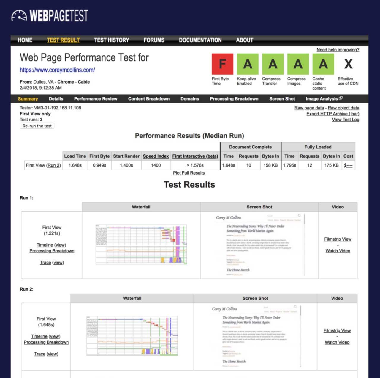 WebPagetest test, after optimizations