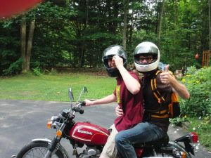 Travis and I about to pull some sick-ass stunts on a motorcycle